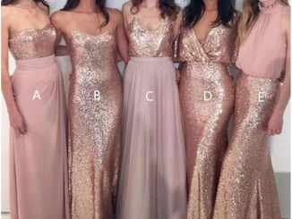 Sparkly Rose Gold Long Bridesmaid Dresses