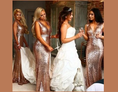 V-Neck SeeThrough Roes Gold Sequin Dresses